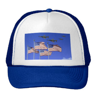 Flags and fly-over trucker hat