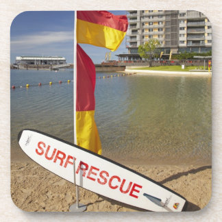 Flags and surf rescue board drink coaster