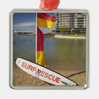 Flags and surf rescue board square metal christmas ornament