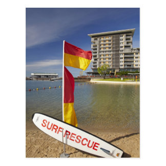 Flags and surf rescue board postcard
