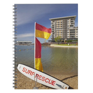 Flags and surf rescue board spiral notebook