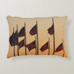 Flags at Sunset I American Patriotic USA Accent Pillow