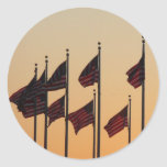 Flags at Sunset I American Patriotic USA Classic Round Sticker