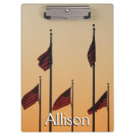Flags at Sunset I American Patriotic USA Clipboard