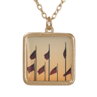 Flags at Sunset I American Patriotic USA Gold Plated Necklace