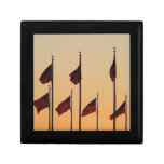 Flags at Sunset I American Patriotic USA Jewelry Box