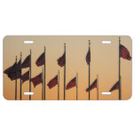 Flags at Sunset I American Patriotic USA License Plate