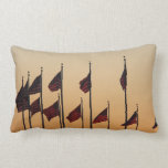 Flags at Sunset I American Patriotic USA Lumbar Pillow
