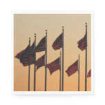 Flags at Sunset I American Patriotic USA Napkin