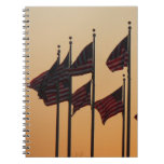 Flags at Sunset I American Patriotic USA Notebook