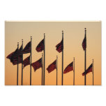 Flags at Sunset I American Patriotic USA Photo Print