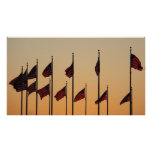 Flags at Sunset I American Patriotic USA Poster