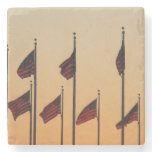 Flags at Sunset I American Patriotic USA Stone Coaster
