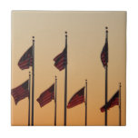 Flags at Sunset I American Patriotic USA Tile