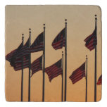Flags at Sunset I American Patriotic USA Trivet