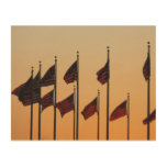 Flags at Sunset I American Patriotic USA Wood Wall Art