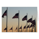 Flags at Sunset II Patriotic Photography Card