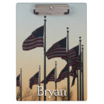 Flags at Sunset II Patriotic Photography Clipboard