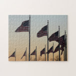 Flags at Sunset II Patriotic Photography Jigsaw Puzzle
