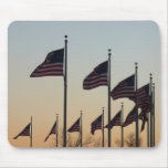 Flags at Sunset II Patriotic Photography Mouse Pad
