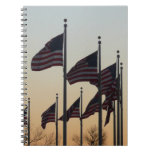Flags at Sunset II Patriotic Photography Notebook