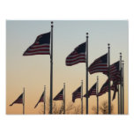 Flags at Sunset II Patriotic Photography Photo Print