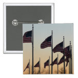 Flags at Sunset II Patriotic Photography Pinback Button