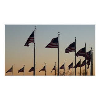 Flags at Sunset II Patriotic Photography Poster