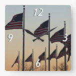 Flags at Sunset II Patriotic Photography Square Wall Clock