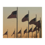 Flags at Sunset II Patriotic Photography Wood Wall Art