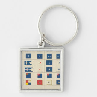 Flags, badges, etc Silver-Colored square keychain
