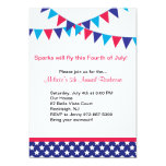 "Flags & Banners Fourth of July Party Invitation 5"" X 7"" Invitation Card"