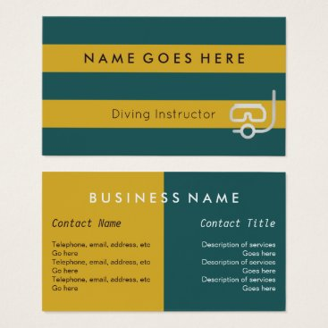 "Beach Themed ""Flags"" Diving Instructor Business Cards"