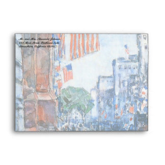 Flags Fifth Avenue by Childe Hassam, Vintage Art Envelope