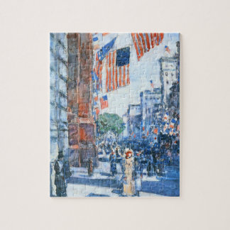Flags Fifth Avenue by Childe Hassam, Vintage Art Jigsaw Puzzle