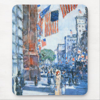 Flags Fifth Avenue by Childe Hassam, Vintage Art Mouse Pad