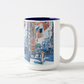 Flags Fifth Avenue by Childe Hassam, Vintage Art Two-Tone Coffee Mug