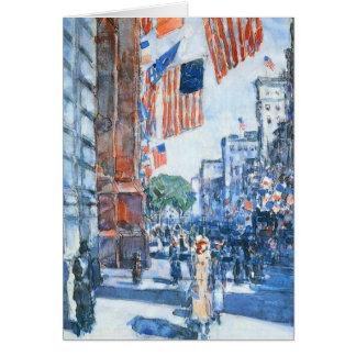 Flags, Fifth Avenue, Hassam, Vintage Impressionism Greeting Card