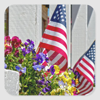 Flags + Flowers Square Sticker