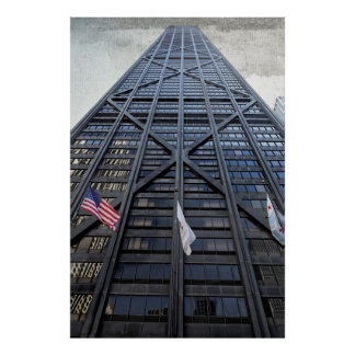 FLAGS FLY BEFORE CHICAGO SKYSCRAPER POSTER