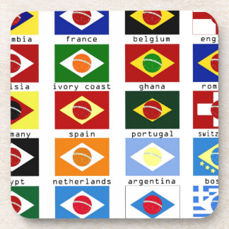 flags for the world cup in Brazil Coasters