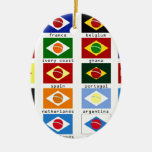flags for the world cup in Brazil Double-Sided Oval Ceramic Christmas Ornament