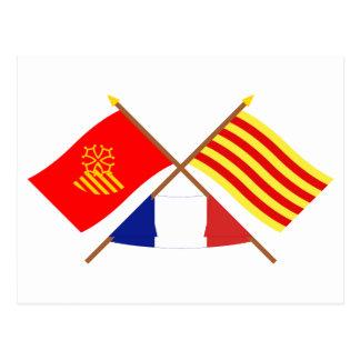 Flags Languedoc-Roussillon & Pyrénées-Orientales Postcard