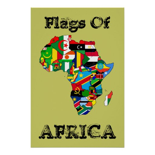 """Flags of Africa 36"""" by 24"""" Vintage Africa flag Map Poster"""