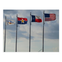 Flags of Ft Worth, Dallas, Texas State and US Flag Postcard