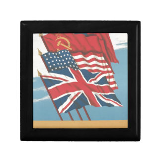 flags of Great Britain,USSR,United States & China Keepsake Boxes