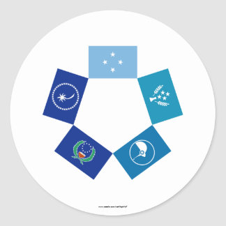 Flags of Micronesia and its States Classic Round Sticker