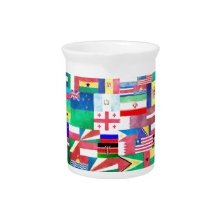Flags of Nations Collage Beverage Pitchers
