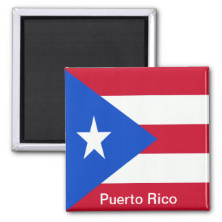 Flags of Puerto Rico 2 Inch Square Magnet