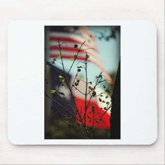 Flags of the USA and Texas Behind Spring Leaf Buds Mouse Pad